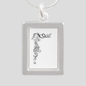 Black/White Mermaid Silver Portrait Necklace