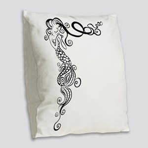 Black/White Mermaid Burlap Throw Pillow