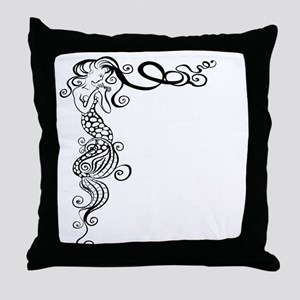 Black/White Mermaid Throw Pillow