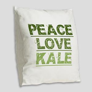 Peace Love Kale Burlap Throw Pillow