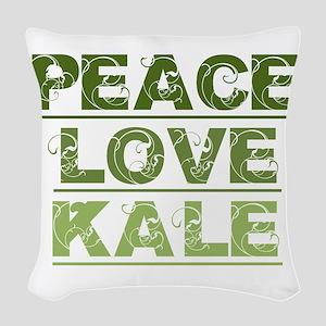 Peace Love Kale Woven Throw Pillow