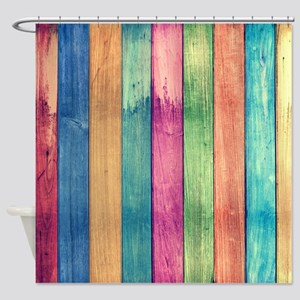 Colorful Wood Shower Curtain