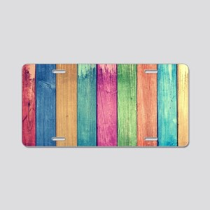 Colorful Wood Aluminum License Plate