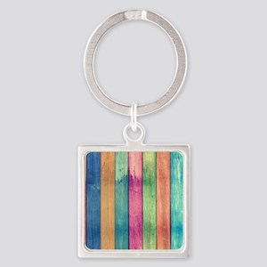 Colorful Wood Square Keychain