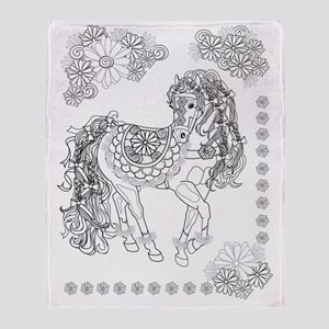 Prancing Daisy & Paisley Horse Throw Blanket