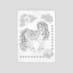 Prancing Daisy Horse Design 5'x7'area Rug