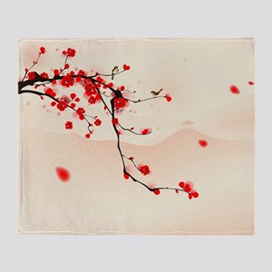 ASIAN TREE BRANCH Throw Blanket