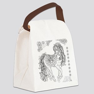 Prancing Daisy Horse Design Canvas Lunch Bag