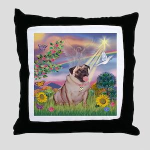 Cloud Angel & Fawn Pug Throw Pillow