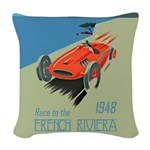 French Riviera-Race Car-1948 Woven Throw Pillow