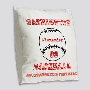 Baseball Personalized Burlap Throw Pillow