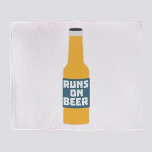 Runs on Beer Bottle Ccy3l Throw Blanket