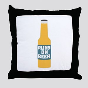 Runs on Beer Bottle Ccy3l Throw Pillow