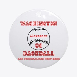 Baseball Personalized Round Ornament