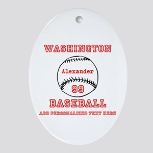 Baseball Personalized Oval Ornament