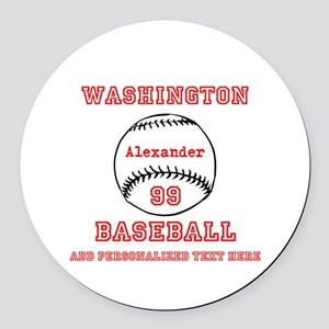 Baseball Personalized Round Car Magnet