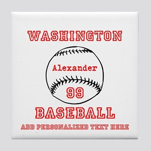 Baseball Personalized Tile Coaster