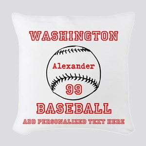 Baseball Personalized Woven Throw Pillow