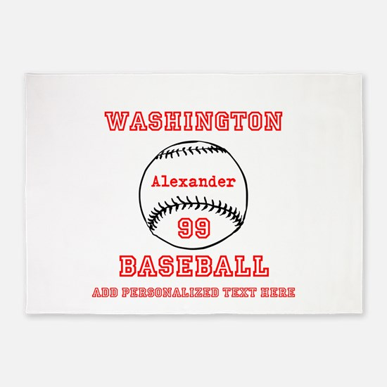 Baseball Personalized 5'x7'Area Rug