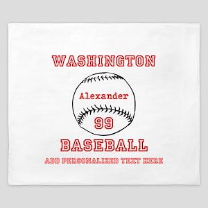 Baseball Personalized King Duvet
