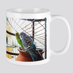 Budgerigar pair in a cage Mugs