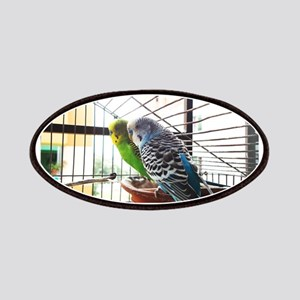 Budgerigar pair in a cage Patch