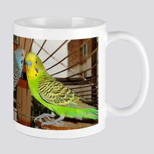 Budgerigars talking to each other Mugs