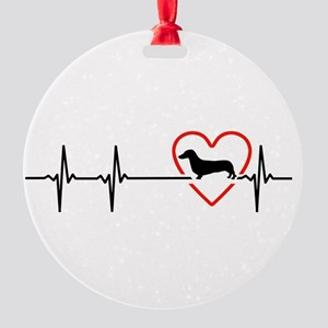 i love Dachshund Round Ornament