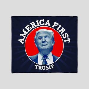Trump America First Throw Blanket