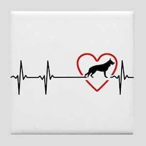 i love German Shepherd Dog Tile Coaster