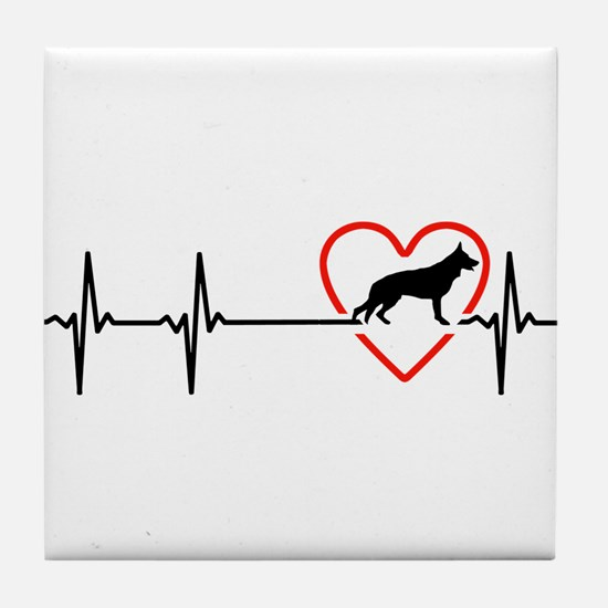 i love German Shepherd Dog Tile Coaster