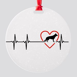 i love German Shepherd Dog Round Ornament
