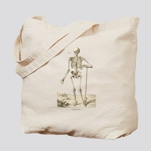 Skeleton Leaning on Spade Tote Bag