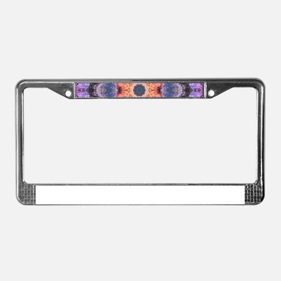 Peach Star Mandala License Plate Frame