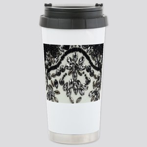 boho floral black rhine Stainless Steel Travel Mug