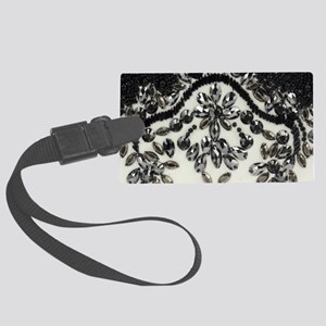 boho floral black rhinestone Large Luggage Tag