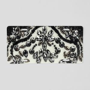 boho floral black rhineston Aluminum License Plate