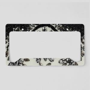 boho floral black rhinestone License Plate Holder