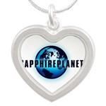 Sapphire Planet Silver Heart Necklace