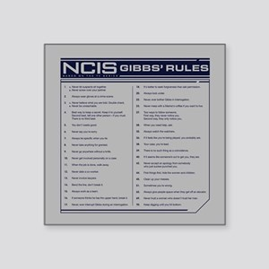"NCIS Gibbs' Rules Square Sticker 3"" x 3"""