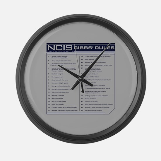 NCIS Gibbs' Rules Large Wall Clock