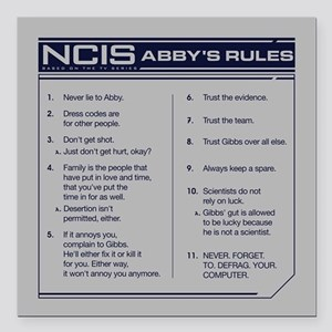 "NCIS Abby's Rules Square Car Magnet 3"" x 3"""