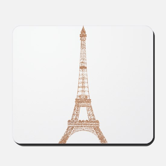 Rose Gold Paris Eiffel tower Mousepad