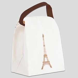 Rose Gold Paris Eiffel tower Canvas Lunch Bag