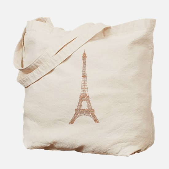 Rose Gold Paris Eiffel tower Tote Bag