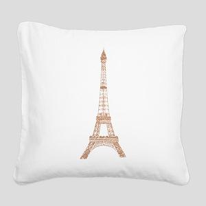Rose Gold Paris Eiffel tower Square Canvas Pillow