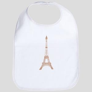Rose Gold Paris Eiffel tower Baby Bib