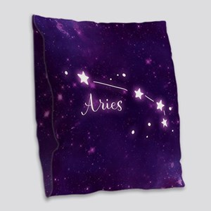 Aries Zodiac Constellation Burlap Throw Pillow