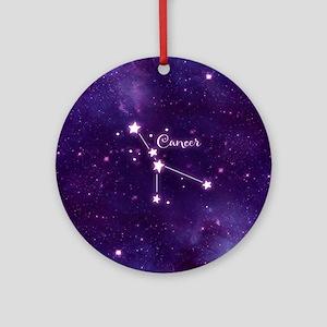 Cancer Zodiac Constellation Round Ornament