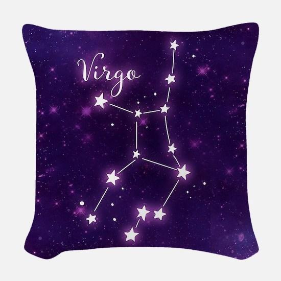 Virgo Zodiac Constellation Woven Throw Pillow